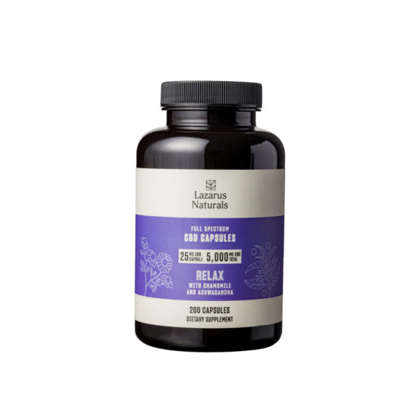 Lazarus Naturals Relaxation CBD Capsules - 25mg 5000mg 200 Count