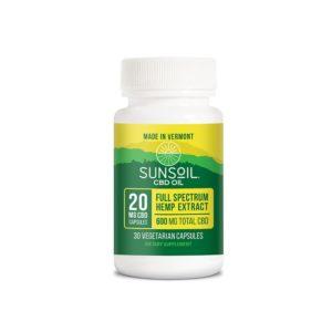 Sunsoil 20mg CBD Oil Vegetarian Capsules 600mg 30 Count
