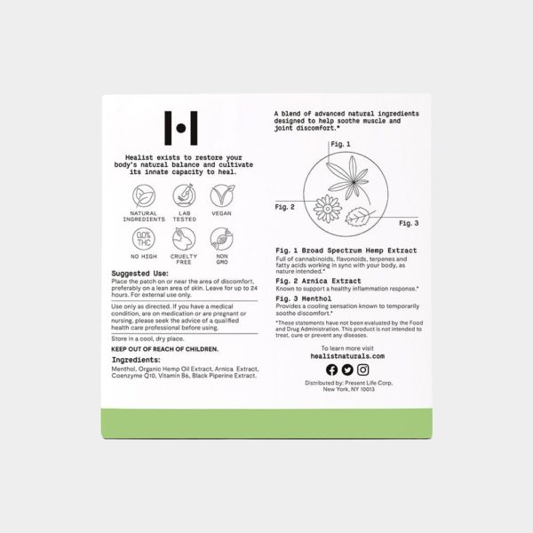 Healist CBD Relief Infused Patch 10mg 4 Count Back