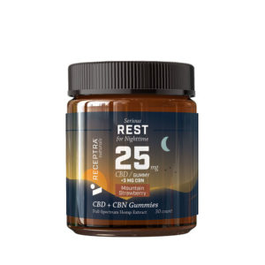 Receptra Naturals Serious Rest 25 Gummies + CBN - Mountain Strawberry 25mg 30 Count